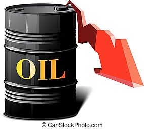 barrel of oil and the falling prices - metal barrel with oil...