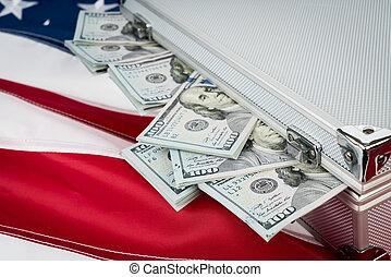 maleta, de, dinero, con, cien, dólar, en, bandera,