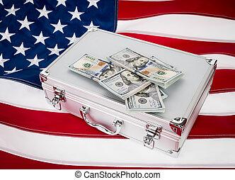maleta, de, dinero, con, cien, dólar, en, flag, ,