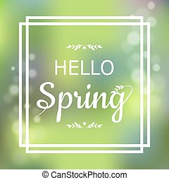 Hello Spring green card design with a textured abstract...