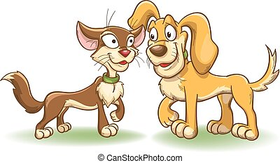 Cat and dog have met, cartoon vector illustration isolated...