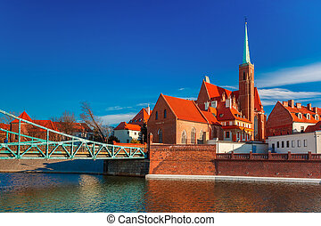 Tumski Bridge in the morning, Wroclaw, Poland - Tumski...