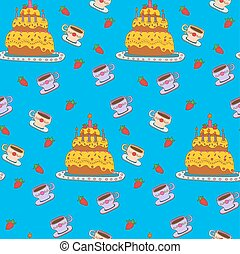Happy Birthday Seamless Pattern with Cake for Children Party