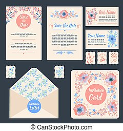 Greeting Cards Set with Flowers. Stationary for Wedding