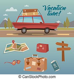Family Vacation Time. Active Summer Holidays by Car. Vector...
