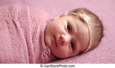 Cute newborn baby girl sleeping