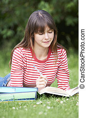 Student Studying Outdoors In Park