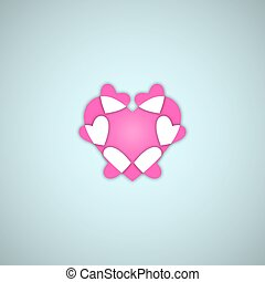Pink Valentines Day Hearts on Blue Background