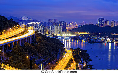 Taffic Night scene of Ting Kau suspension bridge, Hong Kong