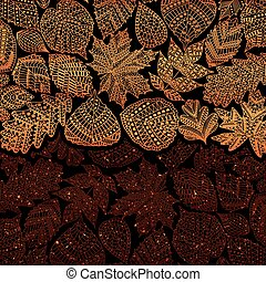 Red golden pattern with different tree leaves such as oak...