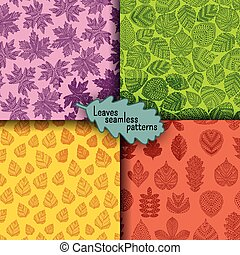 Set of seamless patterns with different tree leaves such as...