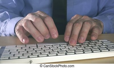 Businessman typing office computer - Businessman typing...