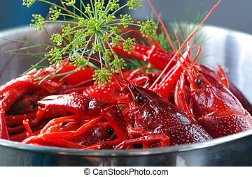 CrayfishCooked - Cooked crayfish with dill i a stainless...