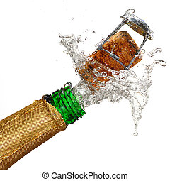 Champagne Explosion - Close up of champagne cork popping...