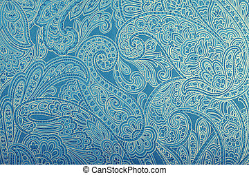 Vintage blue wallpaper with paisley pattern, toned image