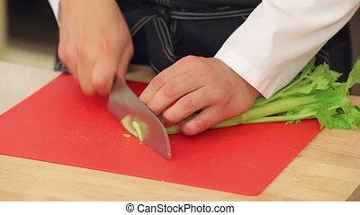 Cutting fresh celery on a cutting board