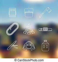 white color outline various camping icon set - vector white...