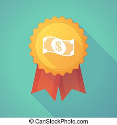 Long shadow badge icon with a dollar bank note -...