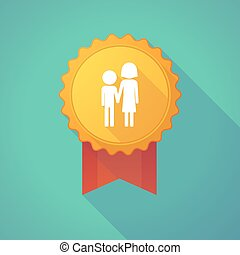 Long shadow badge icon with a childhood pictogram -...
