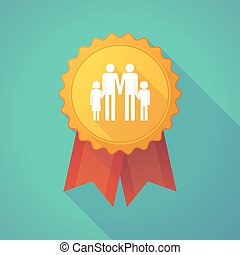 Long shadow badge icon with a gay parents family pictogram -...