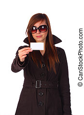 Elegant girl showing a businesscard, isolated - Elegant girl...