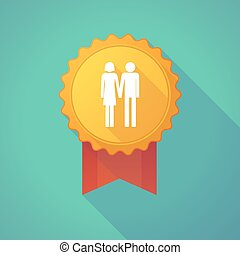 Long shadow badge icon with a heterosexual couple pictogram...