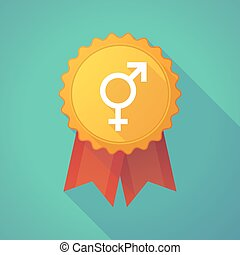 Long shadow badge icon with a bigender symbol