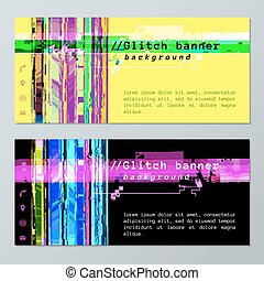 colored glitch design background banner icons templates -...