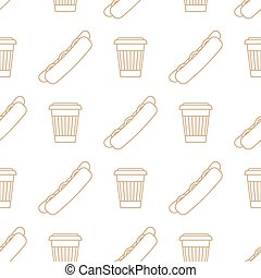 hot dog coffee hot paper cup outline seamless pattern