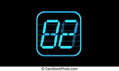 blue digital,time,seamless loop