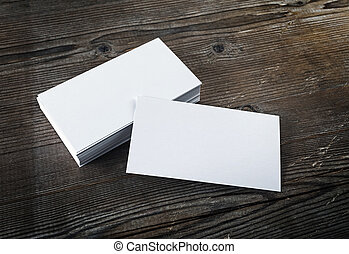 Blank business cards - Photo of blank white business cards...
