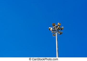 Street light against the clear blue sky