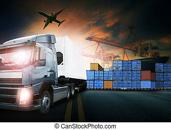 container truck ship in port and freight cargo plane in...