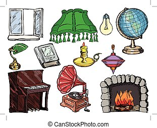 set of objects of interior with fireplace, piano, window