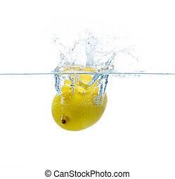 lemon falling or dipping in water with splash - fruits, food...