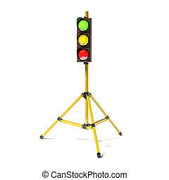 Mobile stoplight on the tripod isolated on the white 3D...