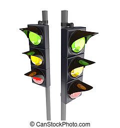 3D traffic stoplight isolated on the white background -...