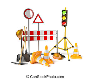 Traffic constructions symbols on the white background. 3D...