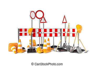 Traffic construction symbols isolated on the white 3D...