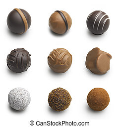 chocolate truffles assortment isolated on white