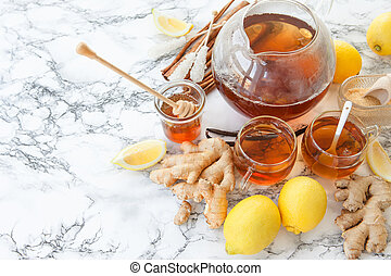 Freshly brewed ginger tea - Freshly brewed tea with ginger...