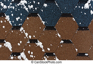 Snow on modern roof texture. Architectural background.