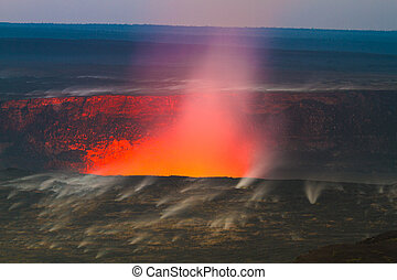 Erupting volcano - Beautiful volcanic eruption at dawn with...