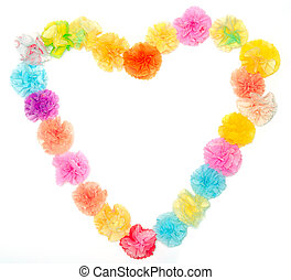 Flowers made from paper craftwork in heart shape - Colorful...