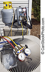 Air Conditioning Unit With Gauges - Vertical shot showing...