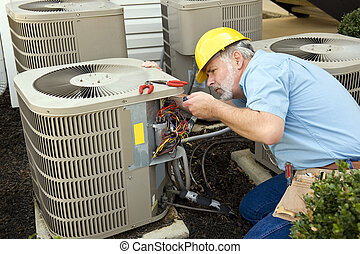 Air Conditioning Repairman - Horizontal shot of an air...