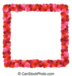 Rose Petals Frame - Square frame or border made of red and...