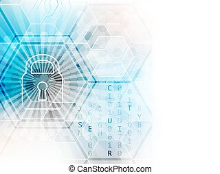Abstract vector technological background with global security concept. Lock, hexagon and circuit board.