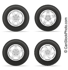 set icons car wheel tire from the disk vector illustration...