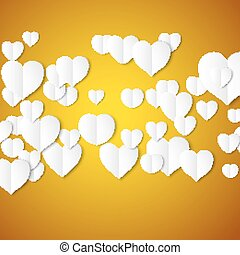 White paper hearts, Valentines day card on yellow background, vector illustration